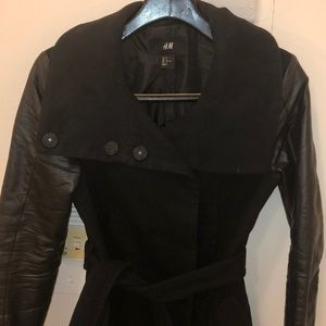 Jackets & Blazers - H&M black coat with faux leather sleeves